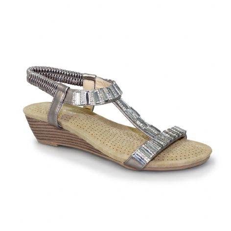 Lunar Womens Reynolds Pewter Wedge Sandal